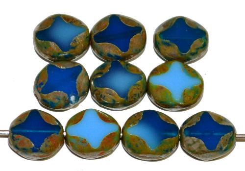 Best.Nr.:671480 Glasperlen / Table Cut Beads geschliffen, hellblau dunkelblau opak mit picasso finish, hergestellt in Gablonz Tschechien