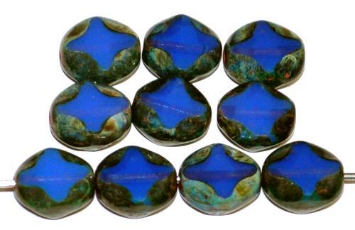 Best.Nr.:671486 Glasperlen / Table Cut Beads geschliffen, Opalglas blau transp. mit picasso finish, hergestellt in Gablonz Tschechien