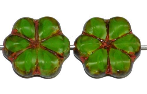 Best.Nr.:671487 Glasperlen / Table Cut Beads geschliffen ,  Perlettglas grün mit picasso finish,  hergestellt in Gablonz / Tschechien