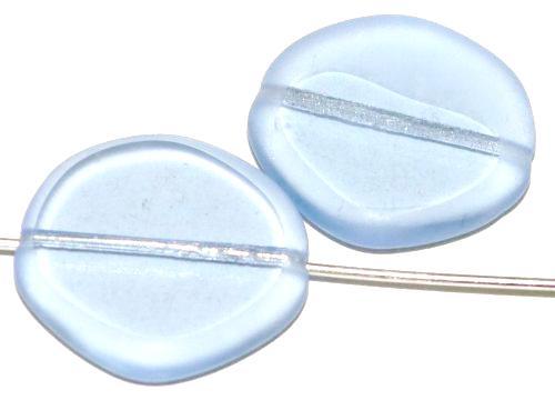 Best.Nr.:671489 Glasperlen / Table Cut Beads  geschliffen / blassblau transp.  Rand mattiert (frostet),  hergestellt in Gablonz Tschechien