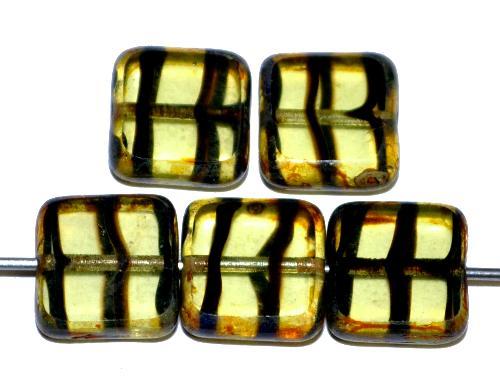 Best.Nr.:67149 Glasperlen / Table Cut Beads geschliffen  Uranglas mit Travertin-Veredelung