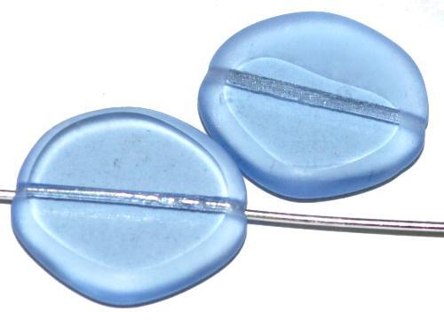 Best.Nr.:671490 Glasperlen / Table Cut Beads  geschliffen / blau transp.  Rand mattiert (frostet),  hergestellt in Gablonz Tschechien