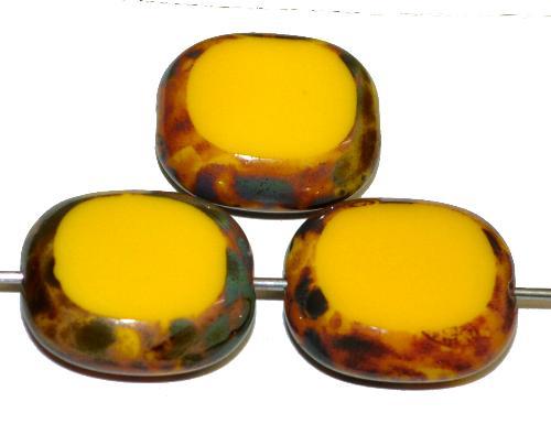 Best.Nr.:67155 Glasperlen / Table Cut Beads Olive geschliffen gelb opak mit picasso finish,  hergestellt in Gablonz / Tschechien