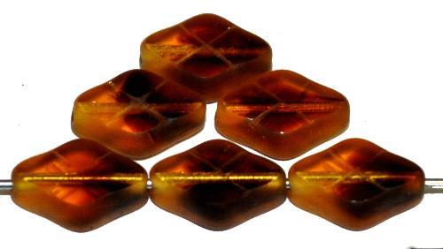 Best.Nr.:67160 Glasperlen / Table Cut Beads geschliffen topas braun transp. Rand mattiert (frostet), hergestellt in Gablonz / Tschechien