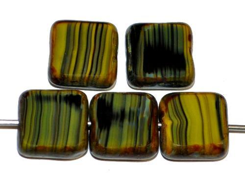 Best.Nr.:67174 Glasperlen / Table Cut Beads geschliffen  schwarz grün mit picasso finish,  hergestellt in Gablonz / Tschechien