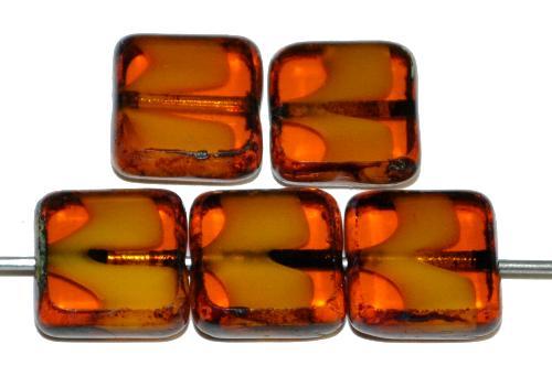 Best.Nr.:67176 Glasperlen / Table Cut Beads geschliffen  topas mit picasso finish,  hergestellt in Gablonz / Tschechien