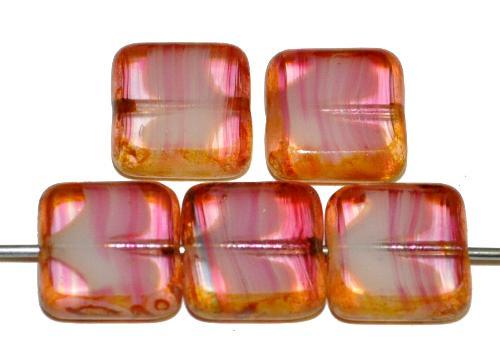 Best.Nr.:67180 Glasperlen / Table Cut Beads rosa geschliffen mit picasso finish,  hergestellt in Gablonz / Tschechien