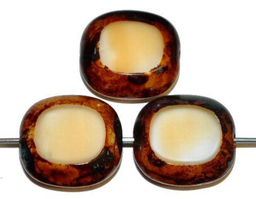 Best.Nr.:67196 Glasperlen / Table Cut Beads Olive geschliffen weiß beige mit picasso finish,  hergestellt in Gablonz / Tschechien