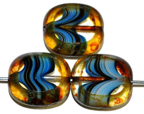 Best.Nr.:67198 Glasperlen / Table Cut Beads Olive geschliffen blau mit picasso finish,  hergestellt in Gablonz / Tschechien