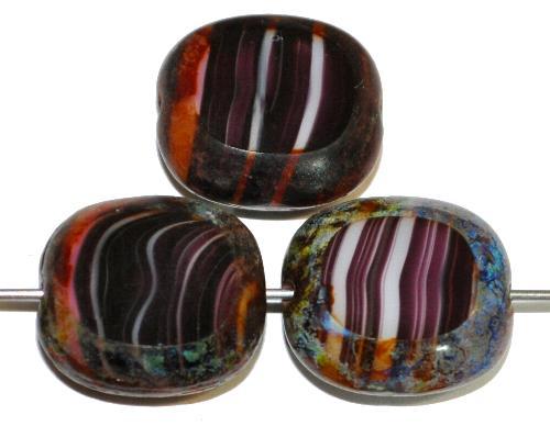 Best.Nr.:67199 Glasperlen / Table Cut Beads Olive geschliffen weiß violett mit picasso finish,  hergestellt in Gablonz / Tschechien