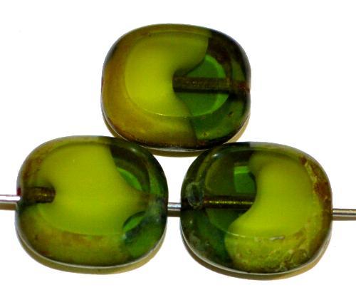 Best.Nr.:67202 Glasperlen / Table Cut Beads Olive geschliffen grün mit picasso finish,  hergestellt in Gablonz / Tschechien
