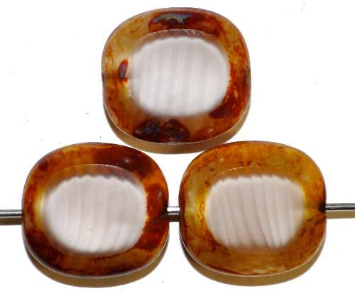 Best.Nr.:67205 Glasperlen / Table Cut Beads Olive geschliffen Perlettglas silk mit Travertin-Veredelung, hergestellt in Gablonz / Tschechien