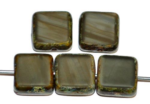 Best.Nr.:67206 Glasperlen / Table Cut Beads geschliffen  graugrün opak mit picasso finish,  hergestellt in Gablonz / Tschechien