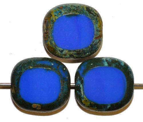 Best.Nr.:67207 Glasperlen / Table Cut Beads Olive geschliffen blau opak mit Travertin-Veredelung, hergestellt in Gablonz / Tschechien