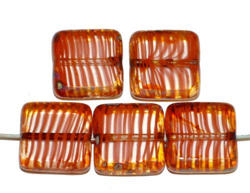 Best.Nr.:67209 Glasperlen / Table Cut Beads geschliffen  kristall braun mit picasso finish,  hergestellt in Gablonz / Tschechien