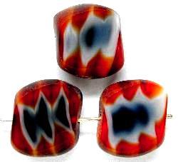 Best.Nr.:67210 Glasperlen / Table Cut Beads geschliffen, rot weiß schwarz, hergestellt in Gablonz / Tschechien