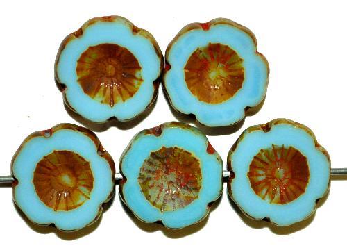 Best.Nr.:67229 Glasperlen / Table Cut Beads Blüten geschliffen  hellblau opak mit picasso finish,  hergestellt in Gablonz / Tschechien