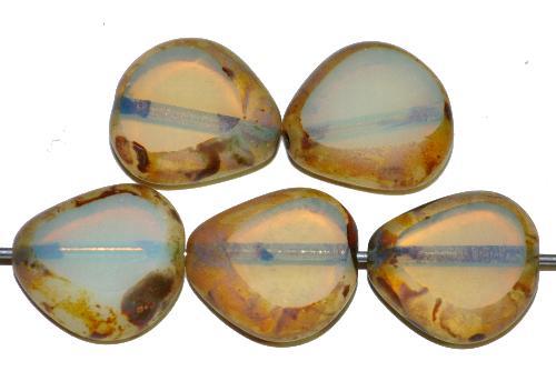 Best.Nr.:67230 Glasperle / Table Cut Bead  geschliffen,Opalglas mit picasso finish,  hergestellt in Gablonz / Tschechien