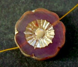Best.Nr.:67232 Glasperlen / Table Cut Beads, Opalglas, geschliffen mit burning silver picasso finish
