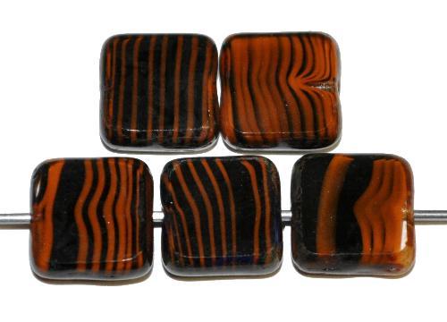 Best.Nr.:67239 Glasperlen / Table Cut Beads geschliffen  schwarz braun mit picasso finish,  hergestellt in Gablonz / Tschechien