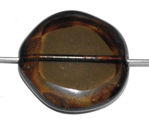 Best.Nr.:67247 Glasperlen geschliffen / Table Cut Beads,  rauch transp. mit picasso finish,  hergestellt in Gablonz / Tschechien