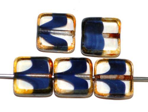 Best.Nr.:67248 Glasperlen / Table Cut Beads geschliffen  kristall blau mit picasso finish,  hergestellt in Gablonz / Tschechien