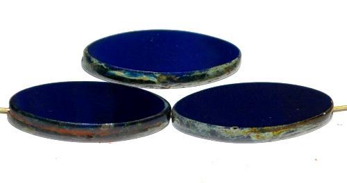 Best.Nr.:67249 Glasperlen / Table Cut Beads geschliffen dunkelblau opak mit picasso finish,  hergestellt in Gablonz / Tschechien