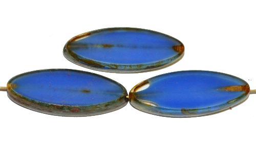 Best.Nr.:67250 Glasperlen / Table Cut Beads geschliffen blau mit picasso finish,  hergestellt in Gablonz / Tschechien