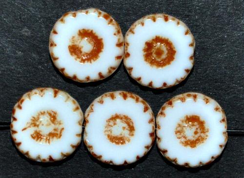 Best.Nr.:67255 Glasperlen / Table Cut Beads  geschliffen, weiß mit picasso finish,  hergestellt in Gablonz / Tschechien