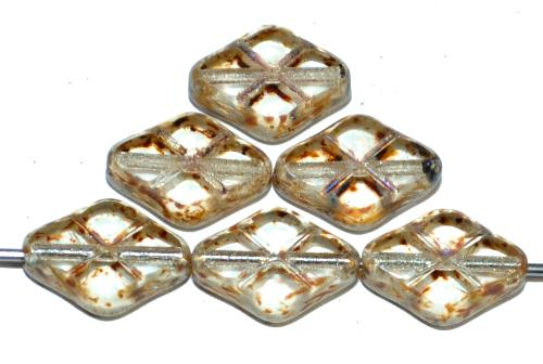 Best.Nr.:67264 Glasperlen / Table Cut Beads geschliffen kristall mit Travertin-Veredelung, hergestellt in Gablonz / Tschechien