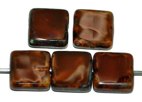 Best.Nr.:67268 Glasperlen / Table Cut Beads geschliffen  Perlettglas braun mit picasso finish,  hergestellt in Gablonz / Tschechien