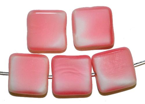 Best.Nr.: 67278 Glasperlen / Table Cut Beads  geschliffen, rosa weiß, Rand mattiert,  hergestellt in Gablonz / Tschechien