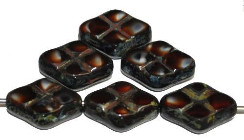 Best.Nr.:67283 Glasperlen / Table Cut Beads geschliffen rot schwarz mit Travertin-Veredelung, hergestellt in Gablonz / Tschechien