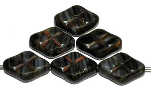 Best.Nr.:67284 Glasperlen / Table Cut Beads geschliffen schwarz grau marmoriert mit Travertin-Veredelung
