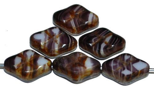 Best.Nr.:67285 Glasperlen / Table Cut Beads geschliffen violett mit Travertin-Veredelung, hergestellt in Gablonz / Tschechien