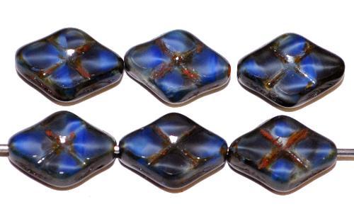 Best.Nr.:67286 Glasperlen / Table Cut Beads geschliffen blau transp. mit picasso finish, hergestellt in Gablonz / Tschechien