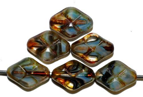 Best.Nr.:67287 Glasperlen / Table Cut Beads geschliffen blau kristall mit Travertin-Veredelung, hergestellt in Gablonz / Tschechien