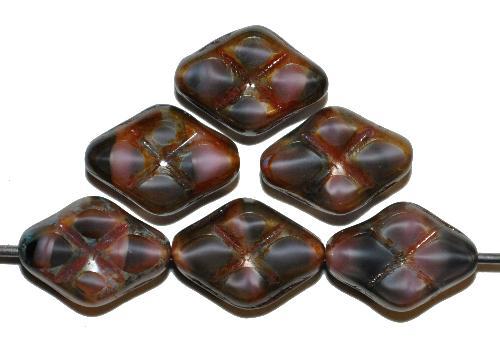 Best.Nr.:67289 Glasperlen / Table Cut Beads geschliffen  Perlettglas violett schwarz mit Travertin-Veredelung, hergestellt in Gablonz / Tschechien