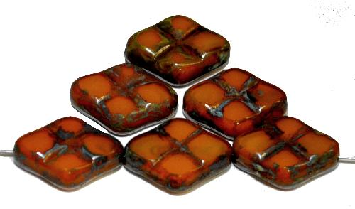 Best.Nr.:67290 Glasperlen / Table Cut Beads geschliffen  Perlettglas orange mit Travertin-Veredelung, hergestellt in Gablonz / Tschechien