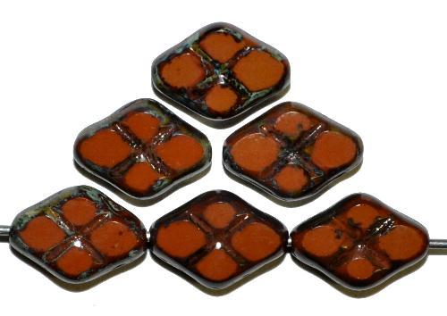 Best.Nr.:67291 Glasperlen / Table Cut Beads geschliffen  braun opak mit Travertin-Veredelung, hergestellt in Gablonz / Tschechien