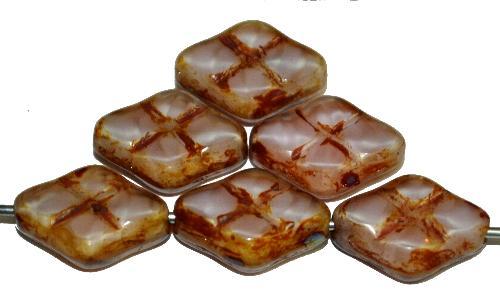 Best.Nr.:67294 Glasperlen / Table Cut Beads geschliffen Perlettglas silk mit Travertin-Veredelung, hergestellt in Gablonz / Tschechien