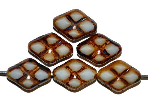 Best.Nr.:67295 Glasperlen / Table Cut Beads geschliffen Perlettglas weiß beige mit Travertin-Veredelung, hergestellt in Gablonz / Tschechien