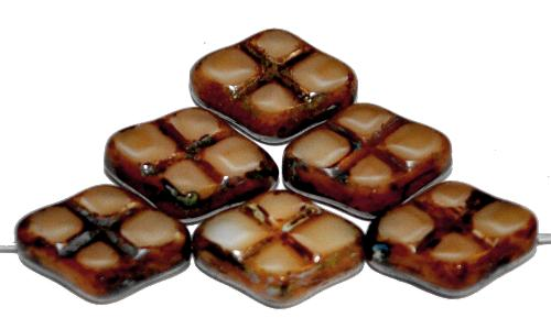 Best.Nr.:67296 Glasperlen / Table Cut Beads geschliffen beige mit Travertin-Veredelung, hergestellt in Gablonz / Tschechien