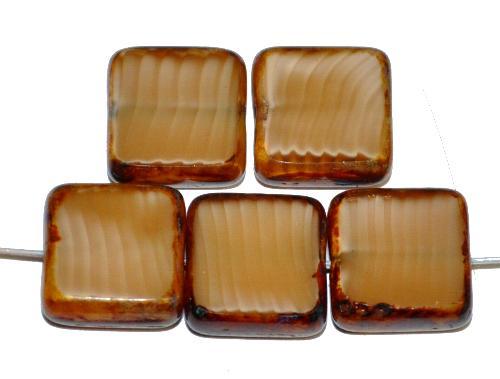 Best.Nr.:67299 Glasperlen / Table Cut Beads geschliffen  Perlettglas beige mit picasso finish, hergestellt in Gablonz / Tschechien