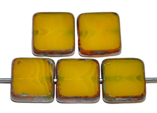 Best.Nr.:67300 Glasperlen / Table Cut Beads olivgelb geschliffen mit picasso finish, hergestellt in Gablonz / Tschechien