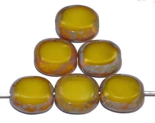 Best.Nr.:67301 Glasperlen / Table Cut Beads  geschliffen, Perlett gelb mit picasso finish,  hergestellt in Gablonz Tschechien