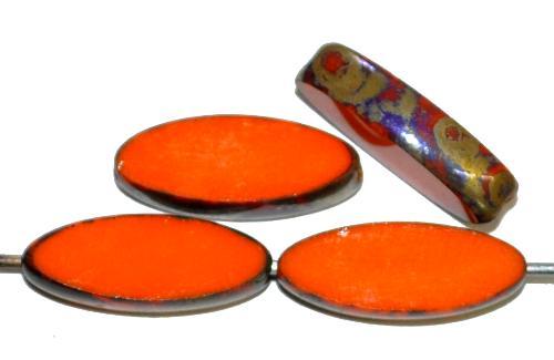 Best.Nr.:67301 Glasperlen / Table Cut Beads geschliffen Narvett Form, orange opak mit burning silver picasso finish, hergestellt in Gablonz Tschechien