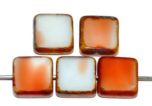 Best.Nr.:67302 Glasperlen / Table Cut Beads geschliffen  weiß orange mit picasso finish, hergestellt in Gablonz / Tschechien