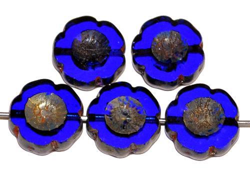 Best.Nr.:67304 Glasperlen / Table Cut Beads Blüten geschliffen dunkelblau transp. mit picasso finish, hergestellt in Gablonz / Tschechien