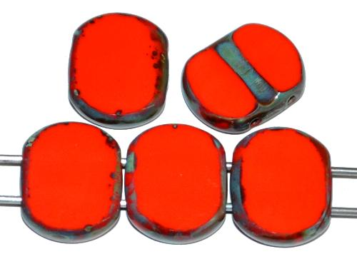Best.Nr.:67305 Glasperlen / Table Cut Beads geschliffen  mit 2 Löchern  orangerot opak mit picasso finish,  hergestellt in Gablonz / Tschechien
